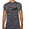 Phoenix CHARCOAL Round Neck Printed T-Shirt Men(life begins)