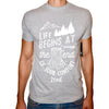 Phoenix GREY Round Neck Printed T-Shirt Men(life begins)