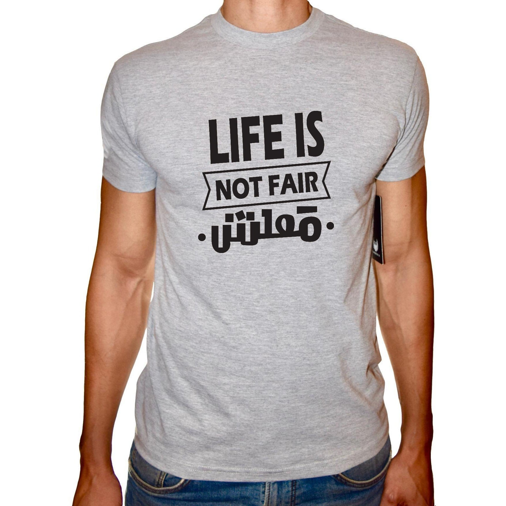 Phoenix GREY Round Neck Printed T-Shirt Men(life is not fair)