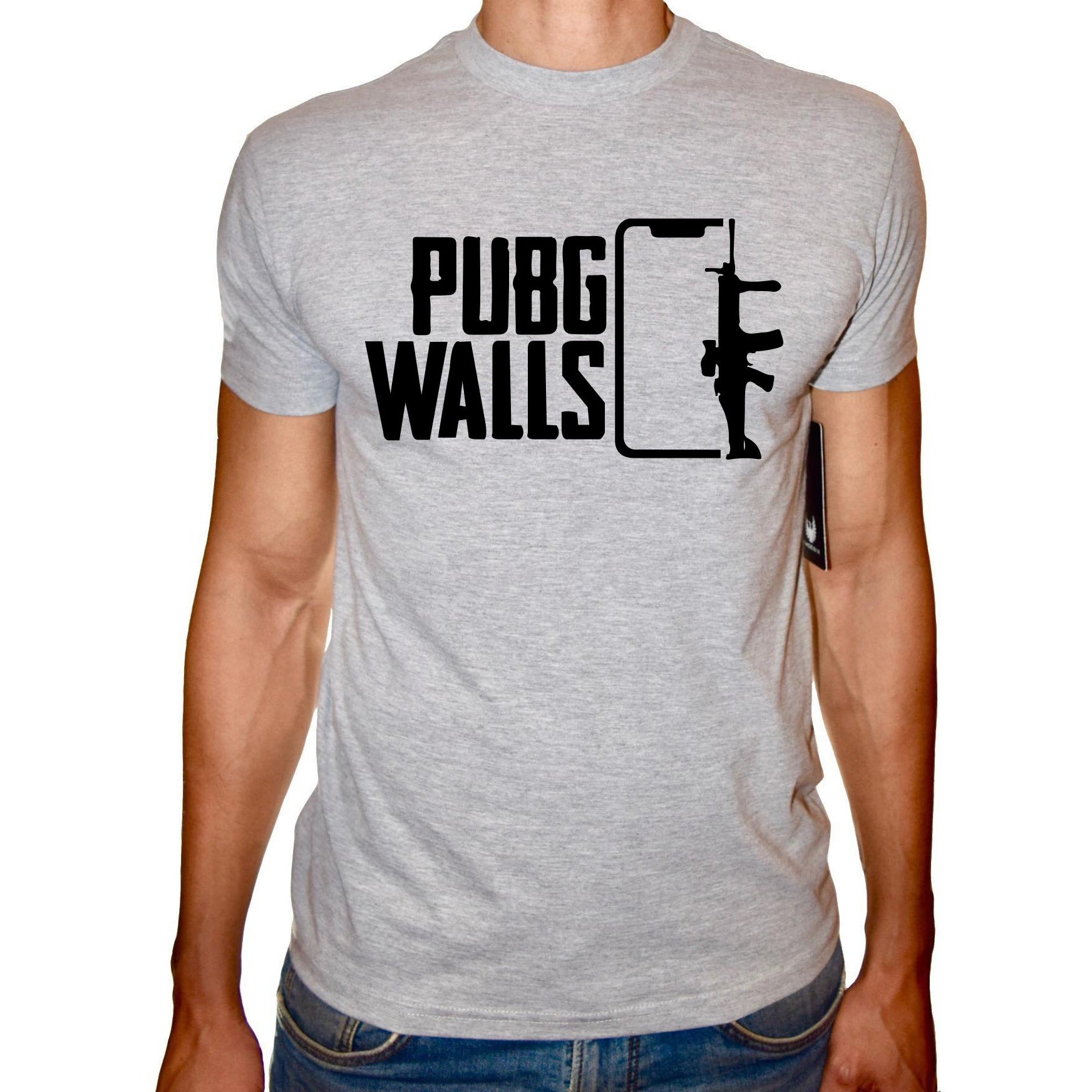 Phoenix GREY Round Neck Printed T-Shirt Men (PUBG WALLS)