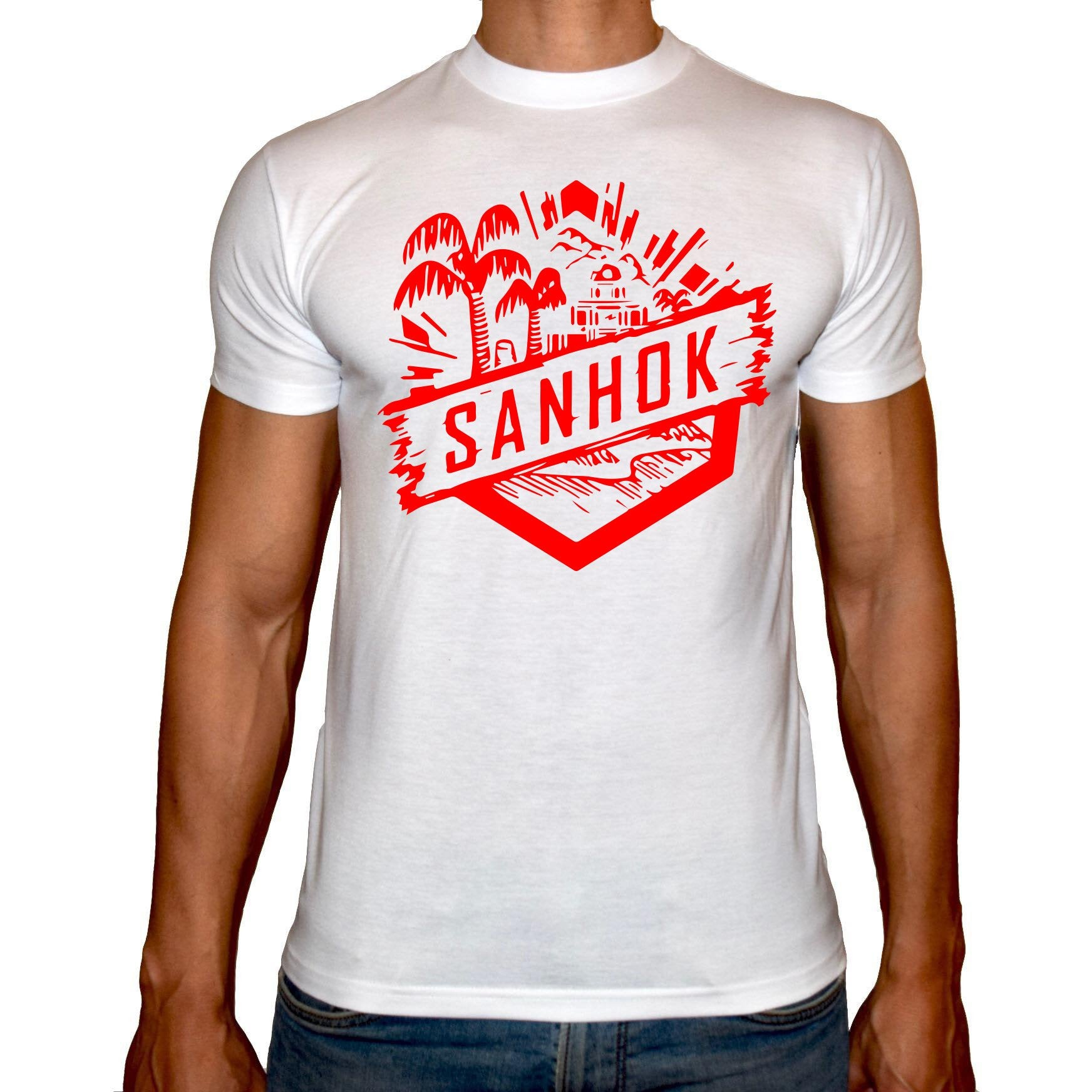 Phoenix WHITE Round Neck Printed T-Shirt Men (SANHOK)