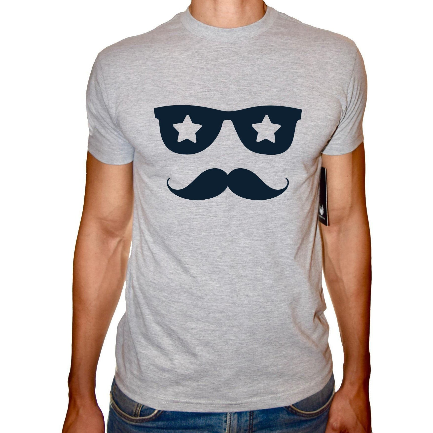 Phoenix GREY Round Neck Printed T-Shirt Men(sunglasses)