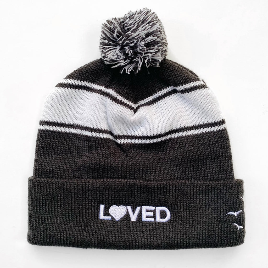 LOVED, Grey and White Embroidered Pom Pom Beanie