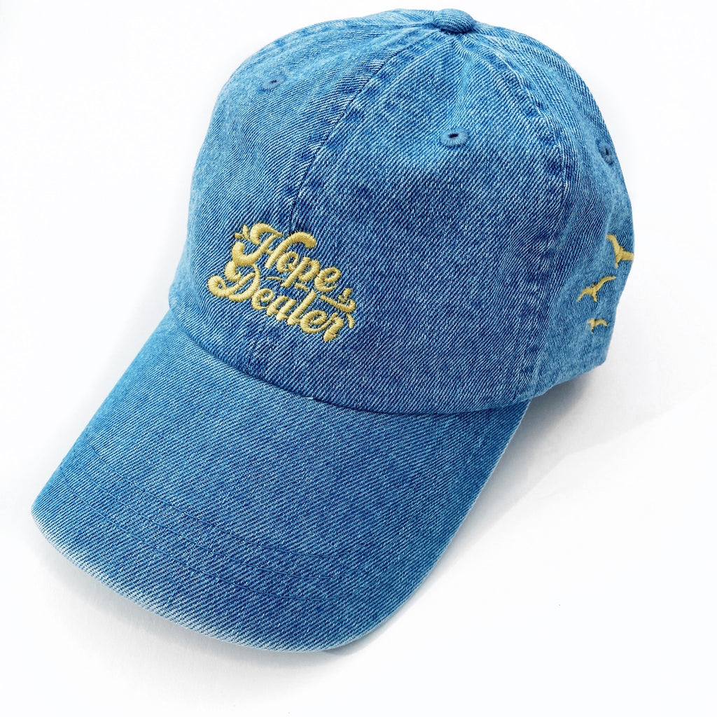 HOPE DEALER, Denim Embroidered Dad Cap