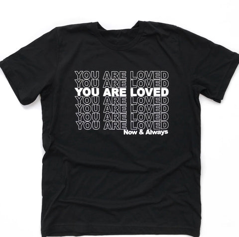 YOU ARE LOVED, Black Poly-Cotton T-Shirt