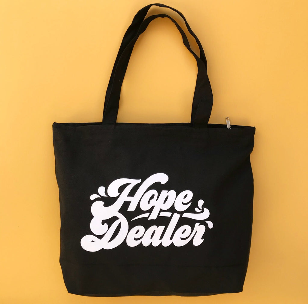 HOPE DEALER, Black Large Tote Bag