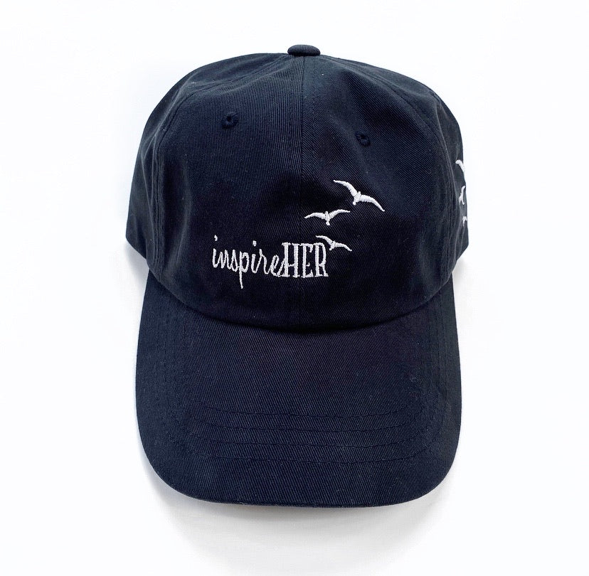 inspireHER Black Embroidered Dad Cap