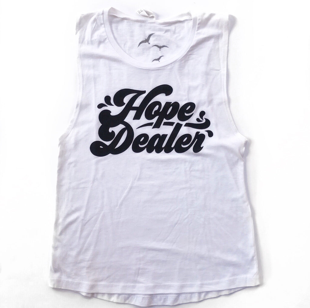 HOPE DEALER, White Ladies Muscle Tank