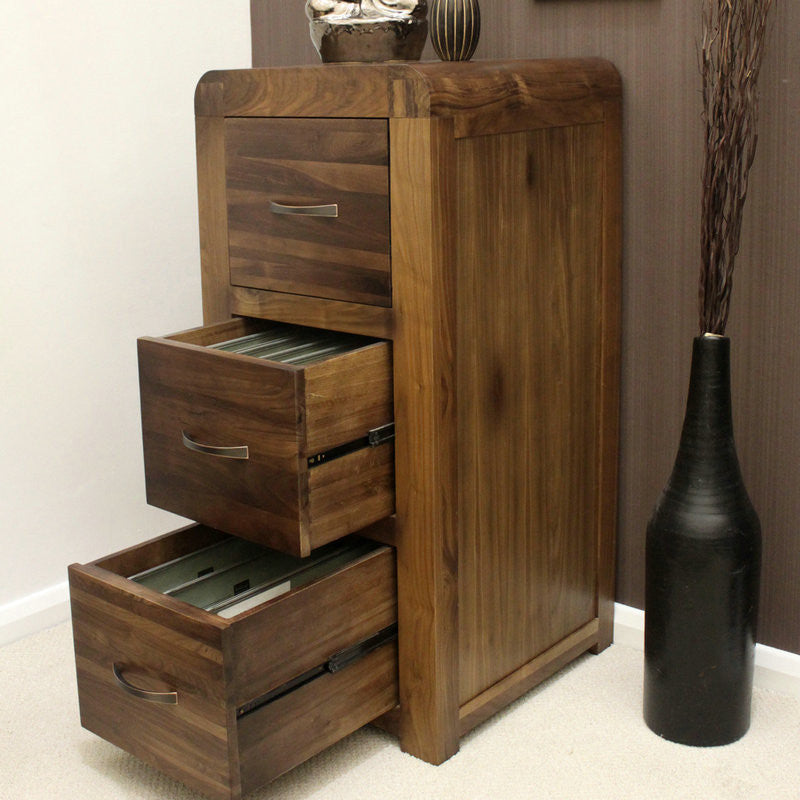 Shiro Solid Walnut 3 Drawer Filing Cabinet -  - Filing Cabinet - Baumhaus - Space & Shape - 1