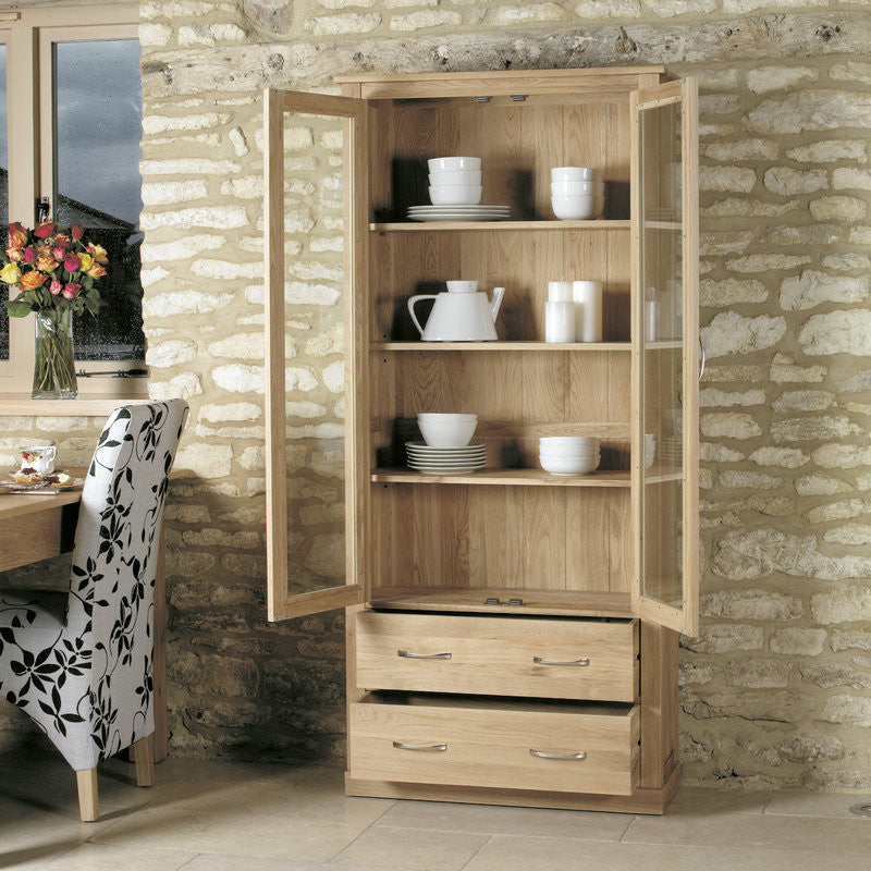Mobel Solid Oak Large Glazed Display Cabinet-Display Cabinet- Space & Shape