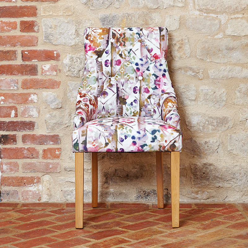 Upholstery Colourful Fabric Oak Accent Dining Chair (Set of 2)