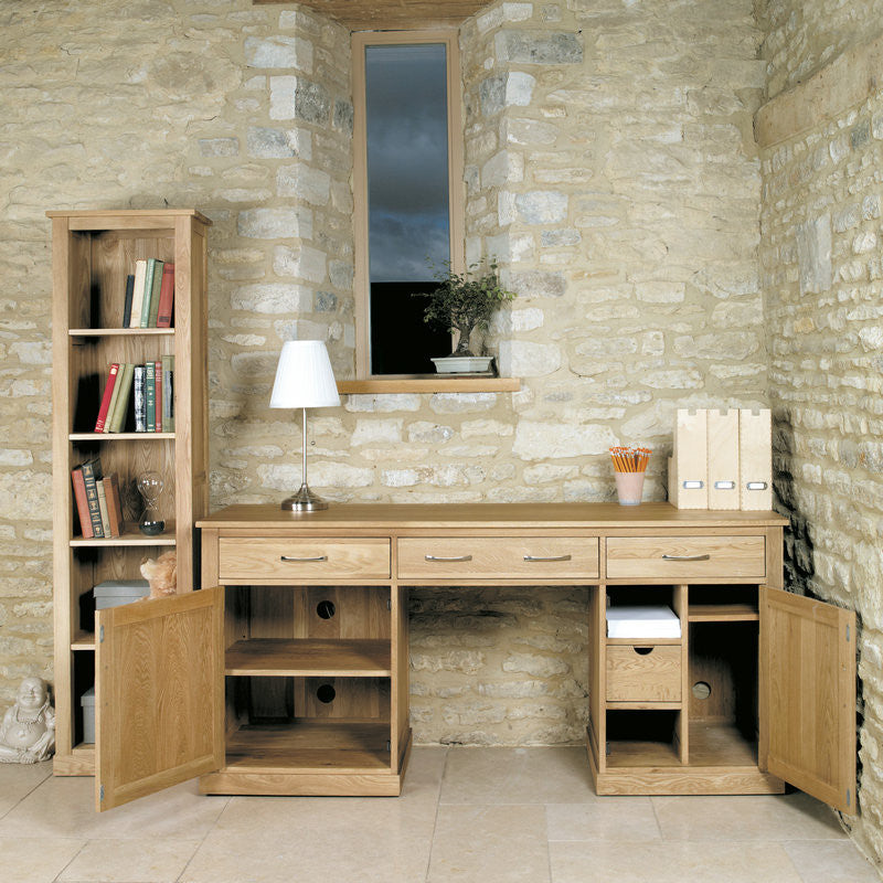 Mobel Solid Oak Large Hidden Office Twin Pedestal Desk -  - Office Desk - Baumhaus - Space & Shape - 1