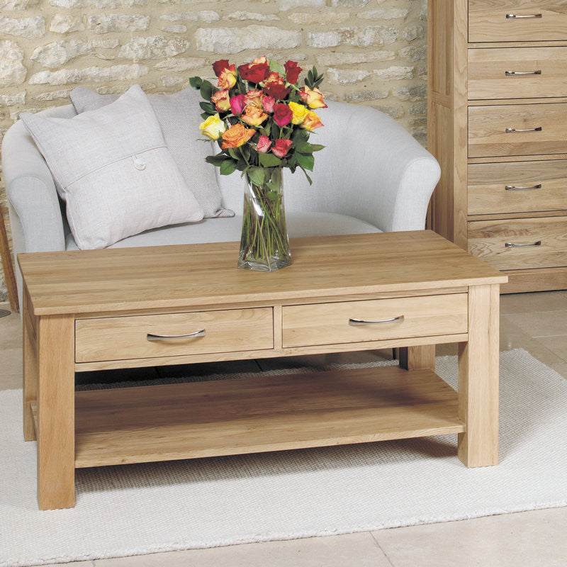 Mobel Solid Oak 4 Drawer Coffee Table Space Amp Shape