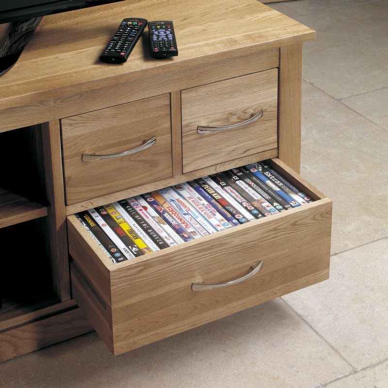 Mobel Solid Oak Widescreen Television Cabinet -  - TV Cabinet - Baumhaus - Space & Shape - 1