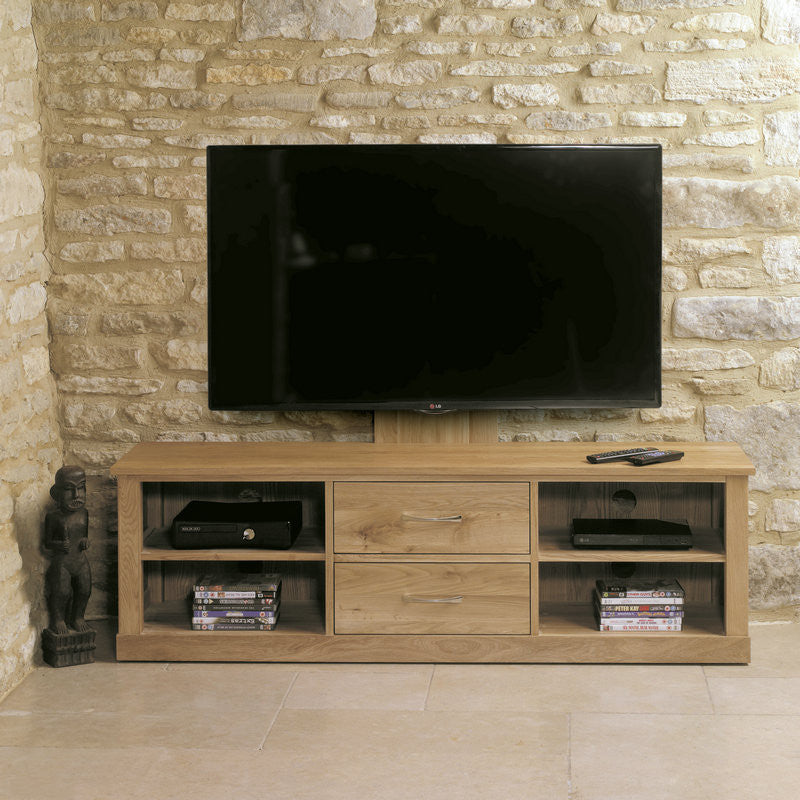 Mobel Solid Oak Mounted Widescreen Television Cabinet -  - TV Unit - Baumhaus - Space & Shape