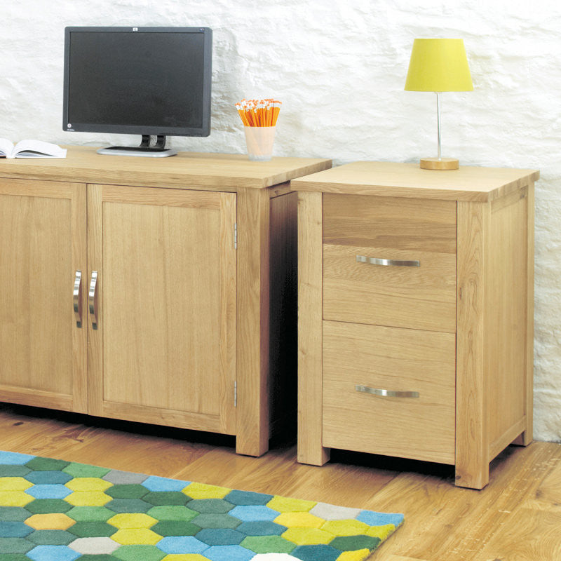 Aston Solid Oak Two Drawer Filing Cabinet-Filing Cabinet- Space & Shape