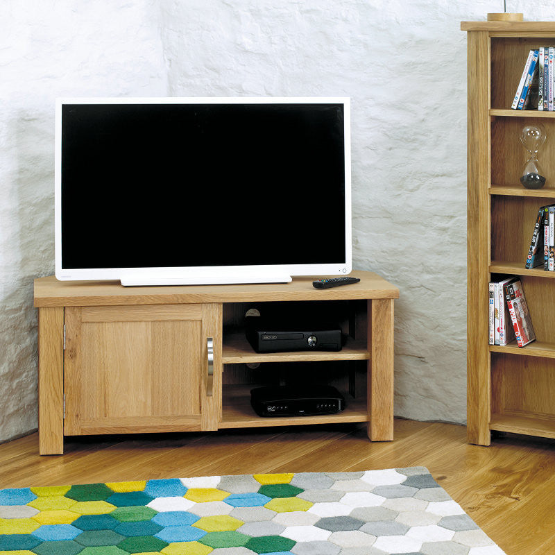 aston solid oak corner television cabinet space shape