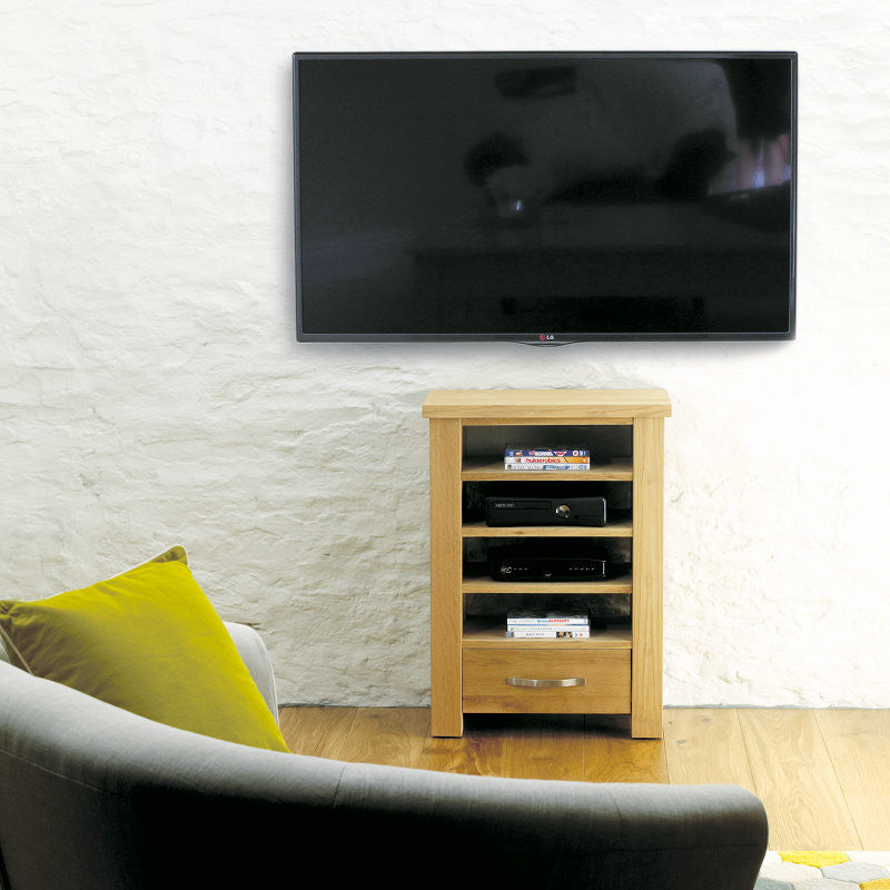 Aston Solid Oak Home Entertainment Cabinet-TV Unit- Space & Shape