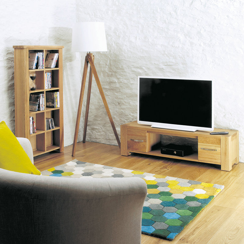 Aston Solid Oak Widescreen Television Cabinet-TV Unit- Space & Shape