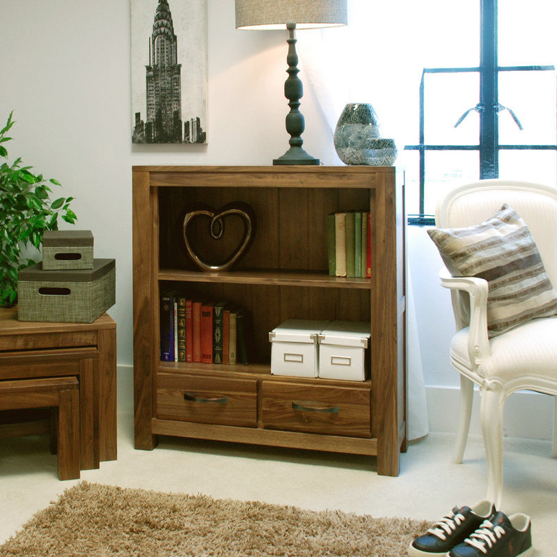 Mayan Solid Walnut Low Bookcase-Bookcase- Space & Shape