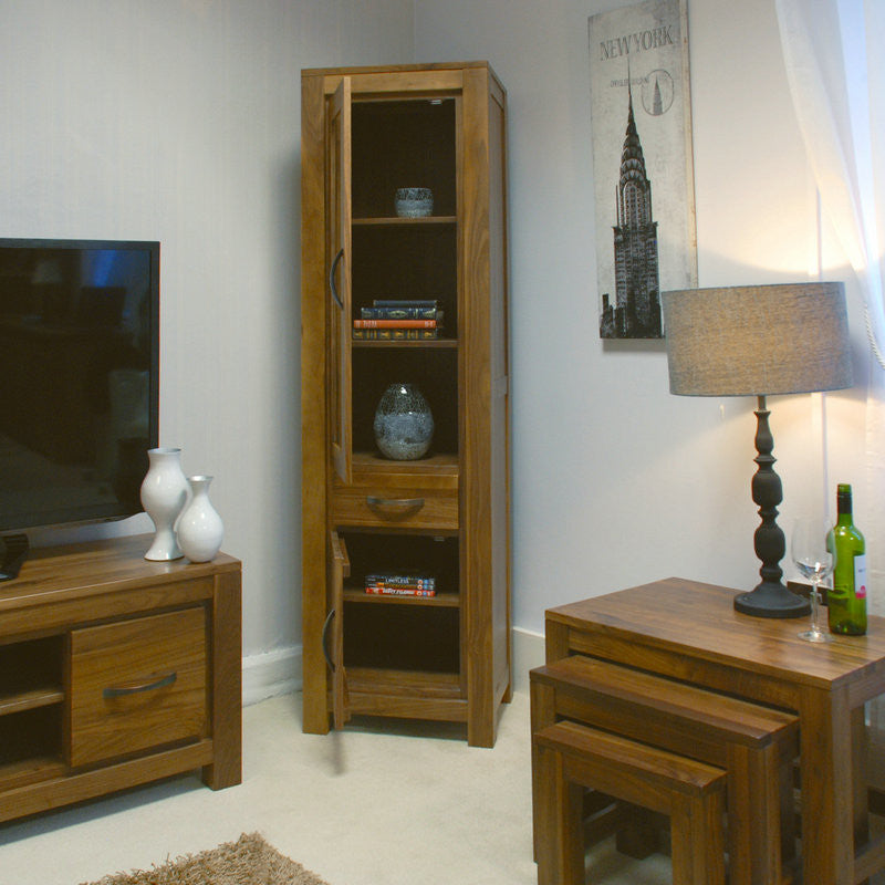 Mayan Solid Walnut Narrow Glazed Bookcase-Bookcase- Space & Shape