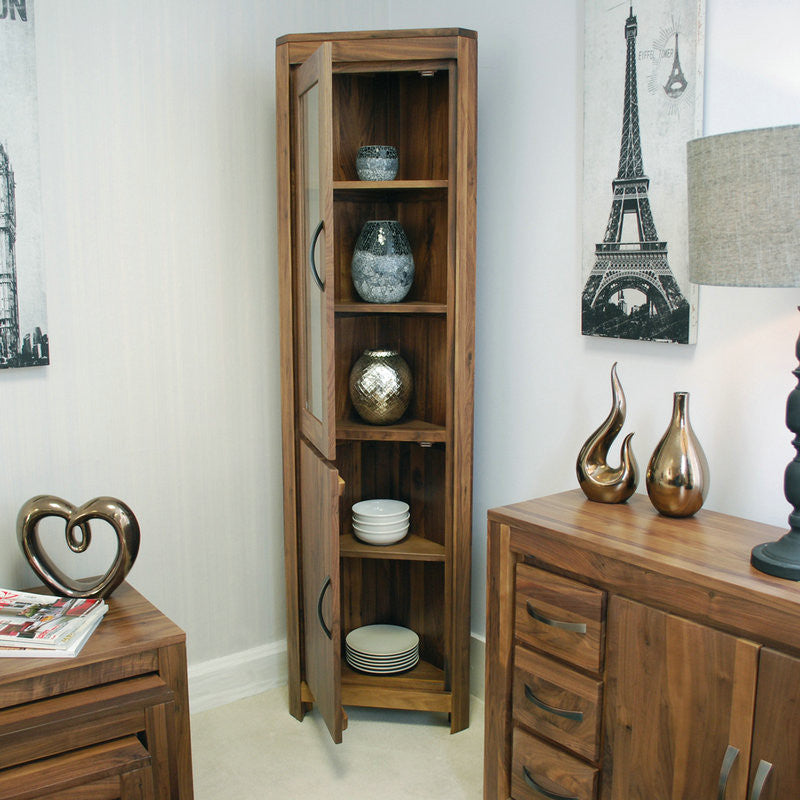 Mayan Walnut Glazed Corner Display Cabinet-Display Cabinet- Space & Shape
