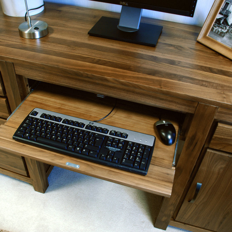 Mayan Solid Walnut Twin Pedestal Computer Desk-Office Desk- Space & Shape