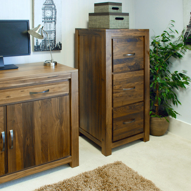 Mayan Solid Walnut 3 Drawer Filing Cabinet-Filing Cabinet- Space & Shape