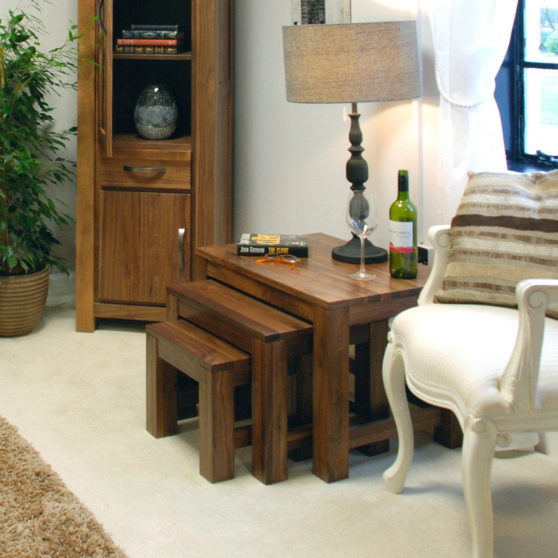 Mayan Solid Walnut Nest of 3 Coffee Tables -  - Nest of Tables - Baumhaus - Space & Shape - 1