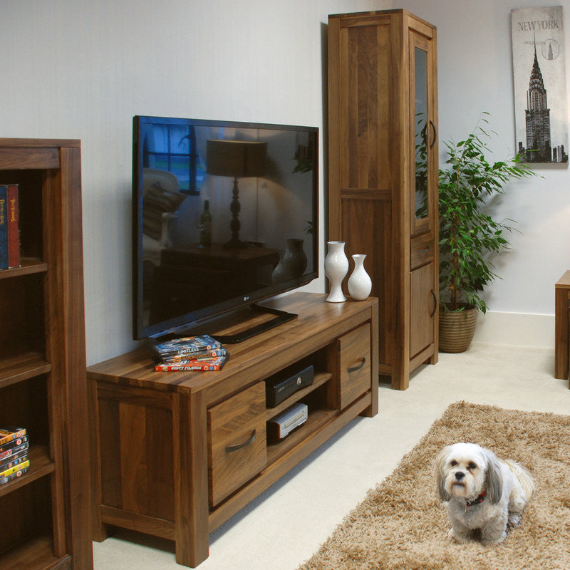 Mayan Solid Walnut Low Widescreen Television Cabinet-TV Unit- Space & Shape