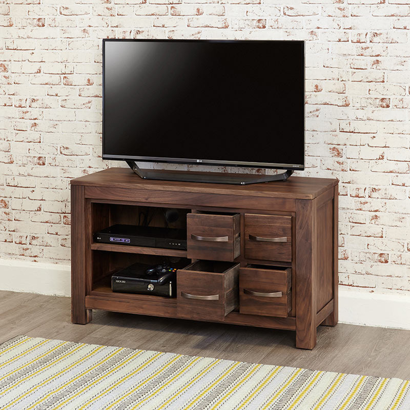 Mayan Walnut 4 Drawer Television Cabinet-TV Unit- Space & Shape