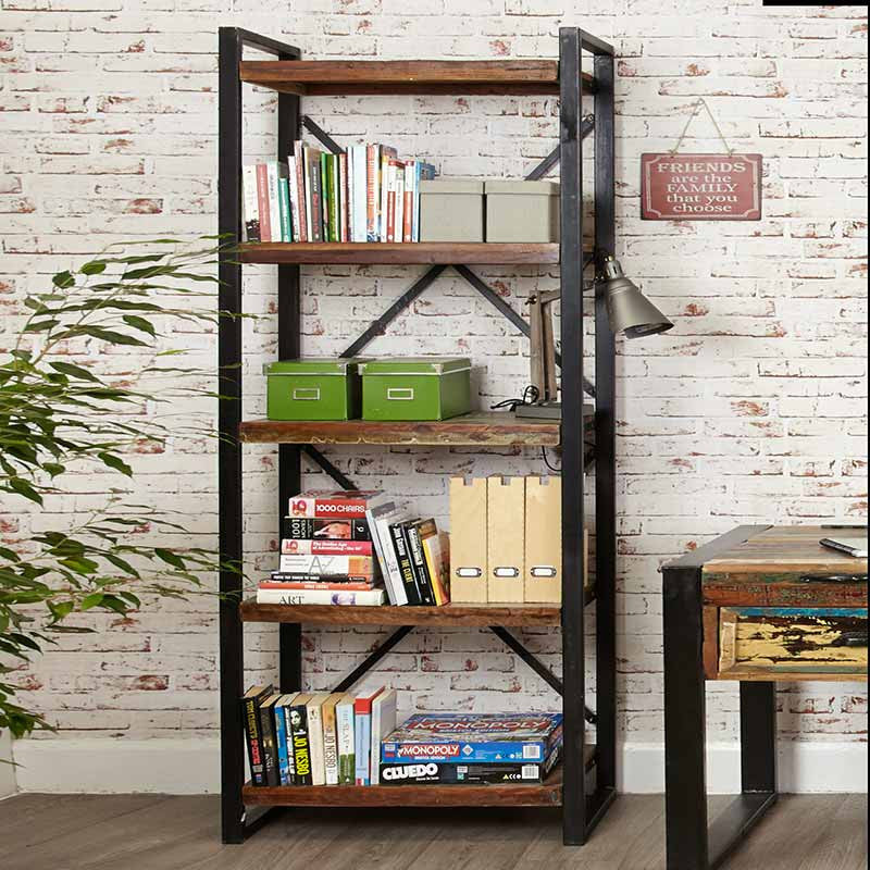 Urban Chic Reclaimed Wood Large Open Bookcase-Bookcase- Space & Shape
