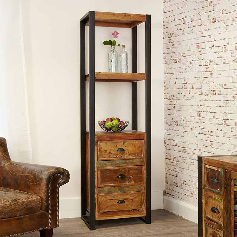 Urban Chic Reclaimed Wood Alcove Bookcase (with drawers)-Bookcase- Space & Shape