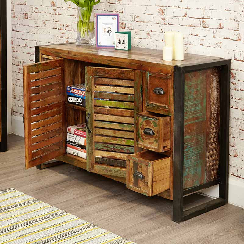 Urban Chic Reclaimed Wood 6 Drawer Sideboard-Sideboard- Space & Shape