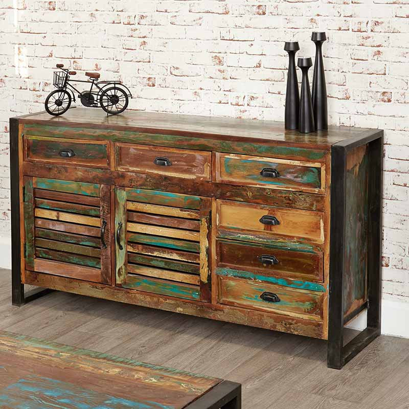Urban Chic Reclaimed Wood Large Sideboard-Sideboard- Space & Shape