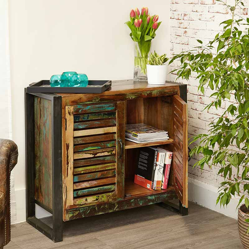 Urban Chic Reclaimed Wood 2 Door Small Sideboard -  - Sideboard - Baumhaus - Space & Shape - 1