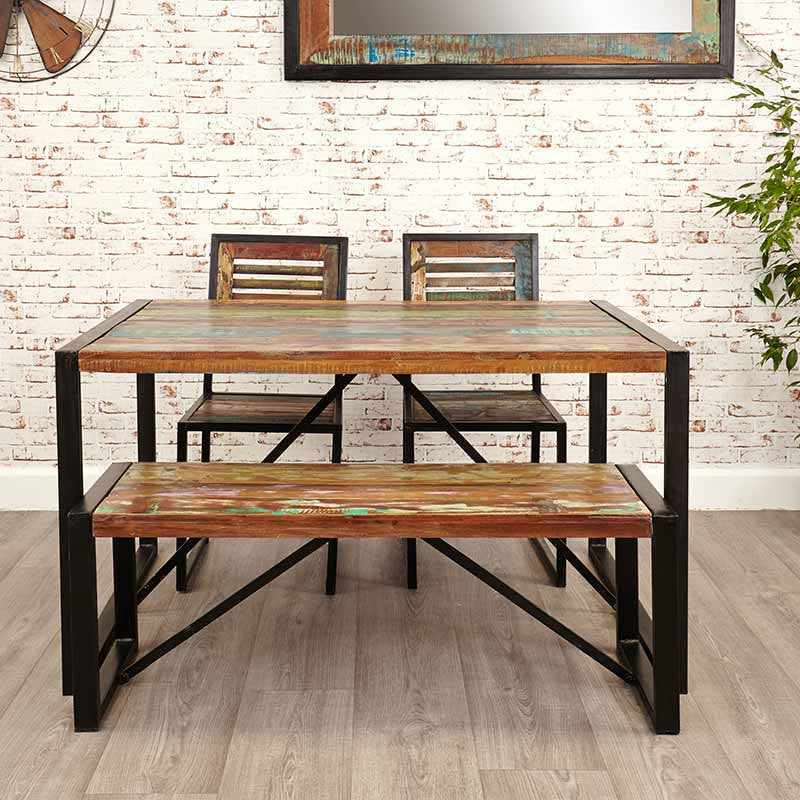 Urban Chic Reclaimed Wood Small Dining Bench-Bench- Space & Shape