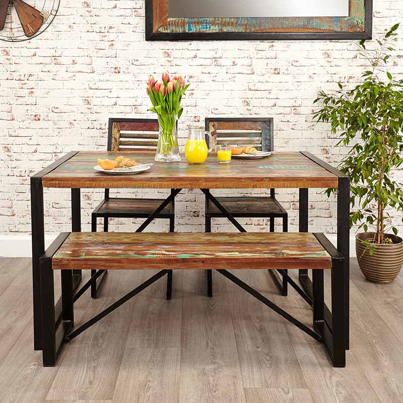 Small Wood Dining Tables: Urban Chic Reclaimed Wood Dining Table Small