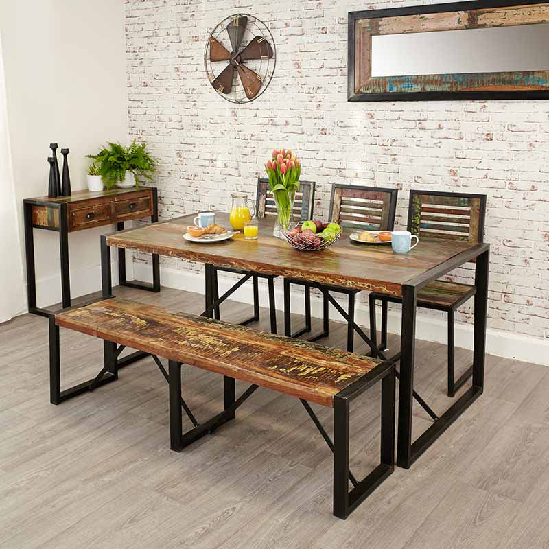 Urban Chic Reclaimed Wood Dining Table Large-Dining Table- Space & Shape