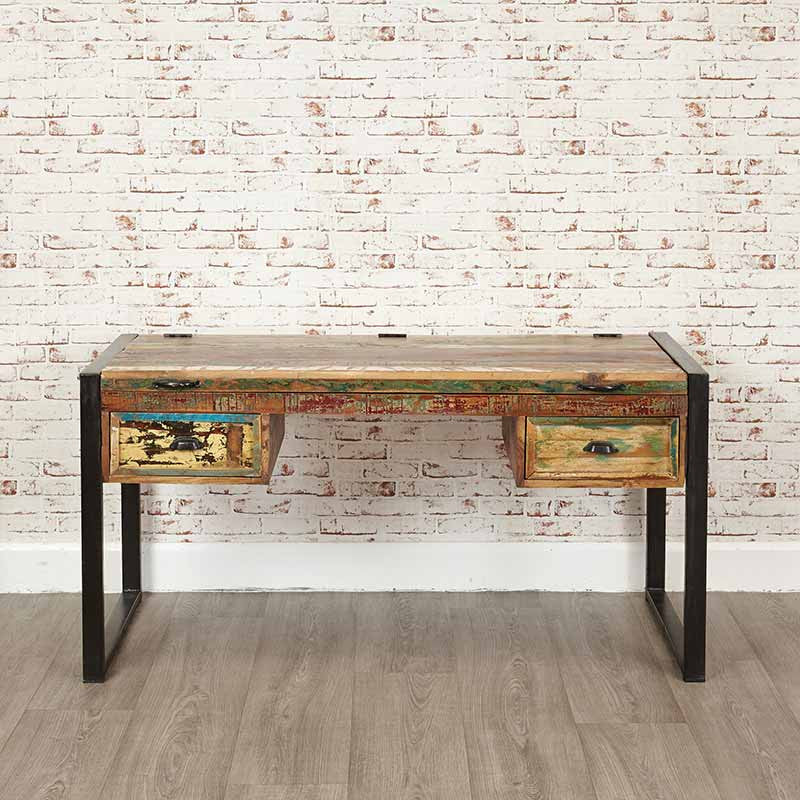 Chic Reclaimed Wood Office Desk reclaimed wood desk industrial rustic table vintage scaffold wood desk rustic scaffold board furniture bespoke office Urban Chic Reclaimed Wood Laptop Desk Dressing Table Office Desk Baumhaus