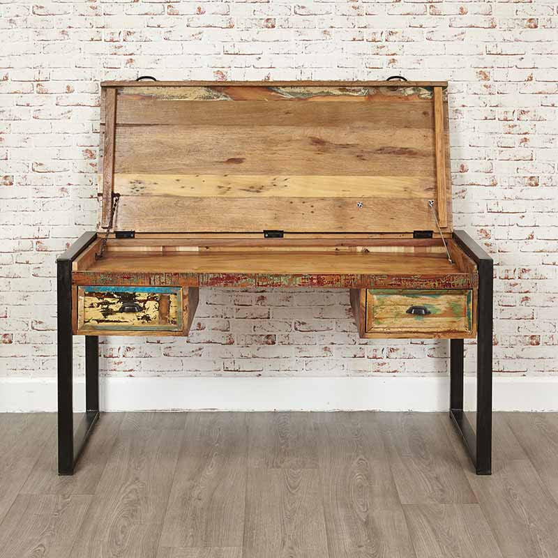 Urban Chic Reclaimed Wood Laptop Desk / Dressing Table -  - Office Desk - Baumhaus - Space & Shape - 1