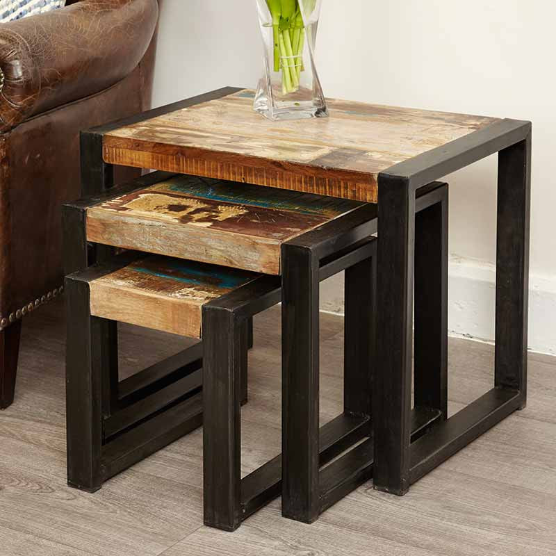 Urban Chic Reclaimed Wood Nest of Tables-Nest of Tables- Space & Shape