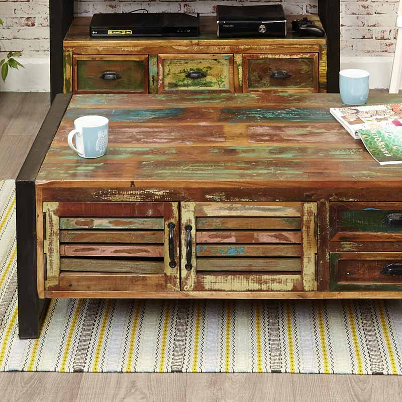 Urban Chic Reclaimed Wood 4 Door 4 Drawers Large Coffee Table-Coffee Table- Space & Shape