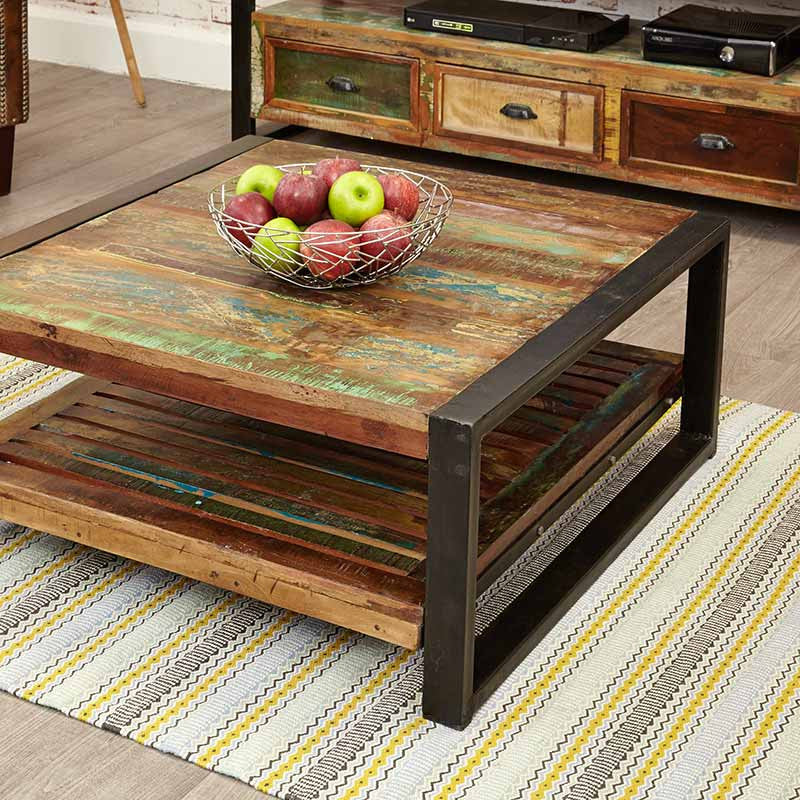 Urban Chic Reclaimed Wood Square Coffee Table-Coffee Table- Space & Shape