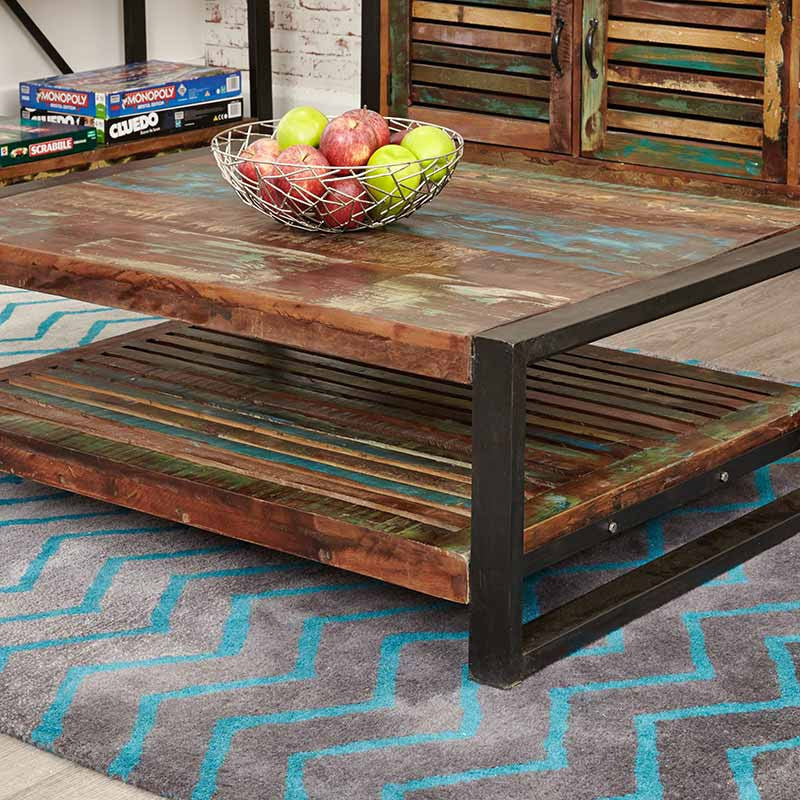 Urban Chic Reclaimed Wood Rectangular Coffee Table-Coffee Table- Space & Shape