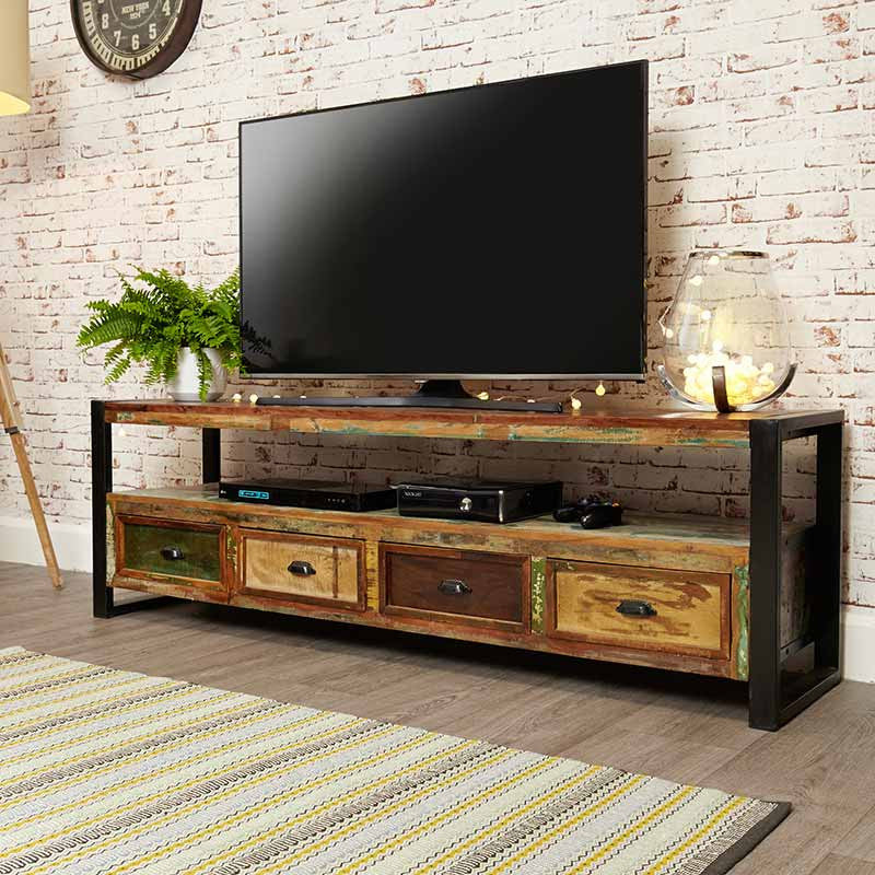Urban Chic Reclaimed Wood Open Widescreen Television Cabinet-TV Unit- Space & Shape