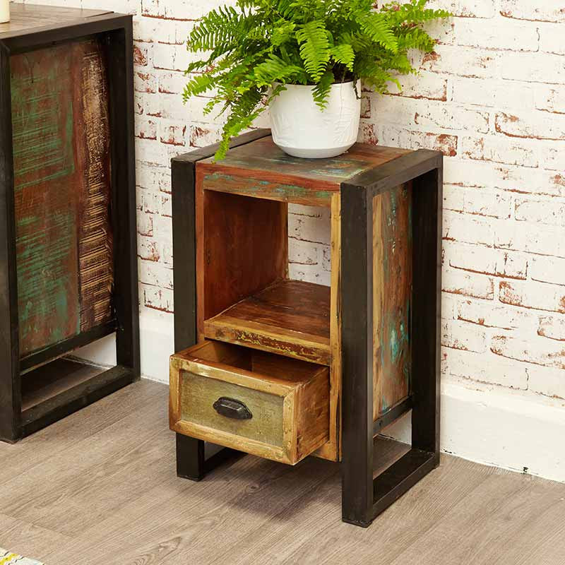 Urban Chic Reclaimed Wood Lamp Table / Bedside Cabinet-Bedside Table- Space & Shape