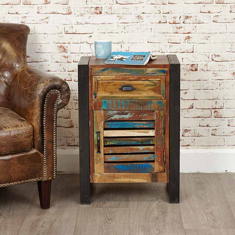 urban chic reclaimed wood 1 door 1 drawer lamp table bedside table baumhaus