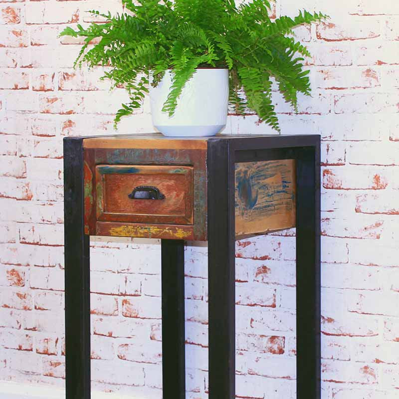 Urban Chic Reclaimed Wood Plant Stand/Lamp Table-Bedside Table- Space & Shape