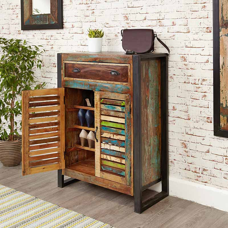 Urban Chic Reclaimed Wood Shoe Storage Cupboard (with drawer)-Shoe Cupboard- Space & Shape